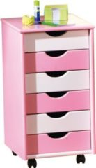 Ilsas Inter Link ABC Rollcontainer Pierre MDF pink/weiss