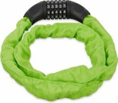 Relaxdays Fietsslot - kettingslot - cijferslot - 120 cm - gekleurd groen
