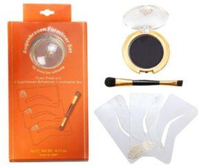 Ikos Make-up Augen Augenbrauen-Formliner Set Schablonen 3 Stk. + Augenbrauenpuder Schwarz 3 g + Pinsel 1 Stk.
