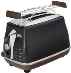 DELONGHI De'Longhi Toaster Icona Vintage »CTOV 2103.BK«, im Retro-Look, mit Brötchenaufsatz, 900 Watt