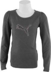Grijze Puma Girls LS Tee - Sportshirt - Kinderen - Maat 164 - Dark Shadow; Purple