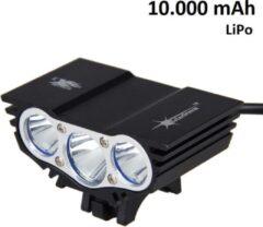 Zwarte SolarStorm X3 USB MTB/race LED koplamp EXTREEM veel licht met 3x CREE T6 LED - met 10.000 mAh LiPo Powerbank