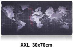 Zwarte Beactiff Muismat Gaming XXL 70x30cm Wereldkaart | bureau onderlegger XXL | Gaming Muismat | Mousepad | Pro Muismat XXL | Anti-slip | Desktop Mat | Computer Mat | Wereldkaart