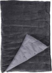 Grijze Walra Velvet Touch Plaid - 100% Katoen Velours - 130x180 Cm - Antraciet