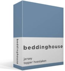 Blauwe Beddinghouse Jersey Topper Hoeslaken - 100% Gebreide Jersey Katoen - 2-persoons (140x200/220 Cm) - Blue