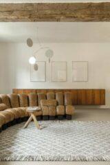 LIGNE PURE Merge – Vloerkleed – Tapijt – handgeweven – wol – eco – modern – Grijs Wit - 140x200