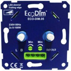 Blauwe Ecodim DUO led dimmer inbouw – fase afsnijding - 2x 0-100W - Universeel - Druk-draai schakelaar, Draaidimmer voor LED Lampen, 100% Stil