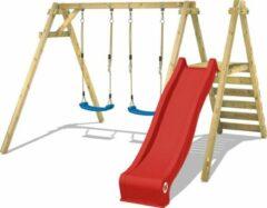 WICKEY Schommel, Speeltoestel Smart Dash met rode glijbaan Houten schommel, Kinderschommel