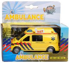 Gele Kids Globe Ambulance met licht en geluid - Speelgoedvoertuig: 13 cm