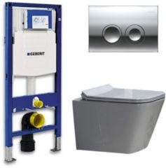 Douche Concurrent Geberit UP 100 Toiletset - Inbouw WC Hangtoilet Wandcloset - Flatline Alexandria Delta 21 Glans Chroom