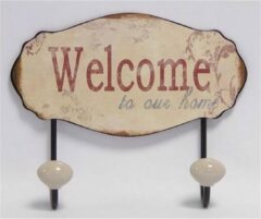 Home of Decorations Vaderdag kados Vintage Welcome To Our Home 18,5x23,5 cm kapstok
