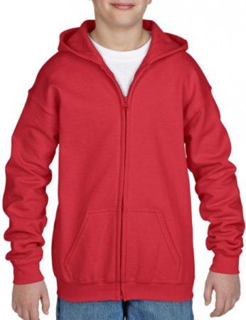 Afbeelding van Gildan Rood capuchon vest voor jongens - maat M (140-152)