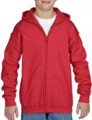 Gildan Rood capuchon vest voor jongens - maat M (140-152)