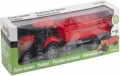 Eddy Toys Tractor met aanhanger in rood of groen -70cm