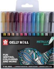 Witte Sakura roller Gelly Roll Metallic, etui met 12 stuks in geassorteerde kleuren