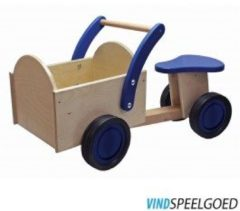 Blauwe New Classic Toys - Houten Bakfiets - Road Star - Blank/Blauw - Zithoogte is 24 centimeter