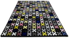 Designer Teppich Sevilla Modern Schwarz Bunt Pixel Pergamon Schwarz