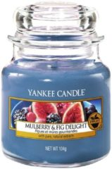 Blauwe Yankee Candle Medium Jar Geurkaars - Mulberry & Fig Delight
