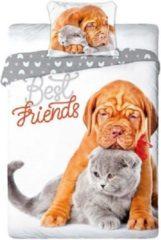 Grijze Faro Dieren dekbedovertrek Best Friends - Hond en Poes - Bordeaux Dog en Britse korthaar - eenpersoons met 1 kussensloop - 100% katoen