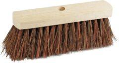 Bruine Sorx Harde straatbezem/buitenbezem kop Piassava 29 cm van hout - Schoonmaken - Bezems