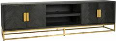 Richmond Interiors Richmond TV-meubel 'Blackbone' Eiken, kleur Zwart / Goud, 220cm