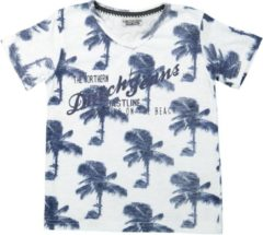 Marineblauwe DJ Dutchjeans Jongens T-shirt - White + navy aop - Maat 140