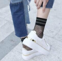 Zilveren Yada Visnetsokken Multipack Dames Sneakersokken - One size