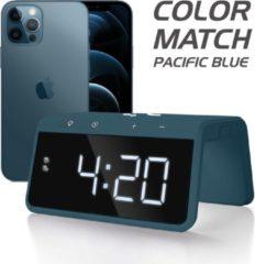 Blauwe Caliber Wekker Met Draadloos Laden - Pacific Blue (Hcg019qi-pb)