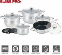 Zilveren Merkloos / Sans marque Swiss Pro + Pannenset - 12 delig - RVS - 1230M - Roestvrijstalen Kookgerei 18/10- (Marmeren Koekenpan)
