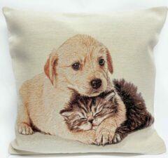 Bruine Emme Kussenhoes - Kat en Hond - Pet Friends - Gobelin