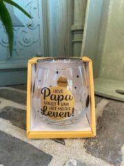 Gouden Creaties van hier Wijn - water glas / Lieve papa geniet van het mooie leven / wijnglas / waterglas / leuke tekst / moederdag / vaderdag / verjaardag / cadeau