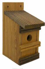 Gele Garden Spirit - Vogelhuisje voor kleine vogels als de Pimpelmees van Vlonderhout - 11 x 13 x 25 cm
