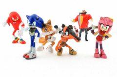 Rode Sega Sonic Boom Speelfiguren - Sonic en Knuckles actiefiguren - 6 cm 6 stuks - Sonic, Knuckles, Tails, Dr. Eggman, Amy, Sticks - Speelgoed Set