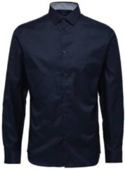 Marineblauwe Selected Homme Heren Overhemd Oxford Navy Grijs Ruiten Contrast Slim Fit - S