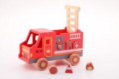Rode Jouéco vormenstoof houten brandweerauto 26 cm rood