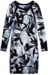 A-Linien-Kleid mit Blätterprint sandwich True blue