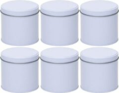 Merkloos / Sans marque 6x Witte ronde opbergblikken/bewaarblikken 10 cm - Stroopwafelblik - Witte koffiepads/koffiecups voorraadblikken - Voorraadbussen