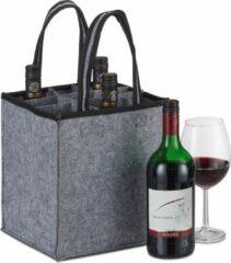 Grijze Relaxdays flessentas - vilt - voor 9 flessen - flessendrager - wijntas - boodschappentas antraciet