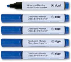 Glasboardmarker Sigel 2-3mm ronde punt 5 stuks in etui blauw SI-GL712