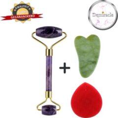 Demiracle Amethist Face Roller met Gua Sha Schraper en Rode Siliconen Gezichtsborstel - Gezichtsroller - Massage Roller - Jade Roller - Rimpelverwijdering - Ontspanning