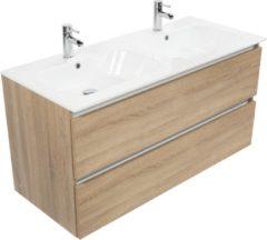Saniselect Guarda meubelset 2 lades met dubbele keramische wastafel greeploos 120cm Bardolino Eiken