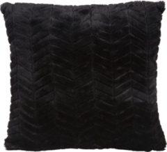 Present Time Sierkussens Cushion Herringbone Faux Fur Zwart