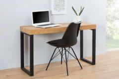 Interieurs online Bureau Eiken vintage 120 cm met metalen frame
