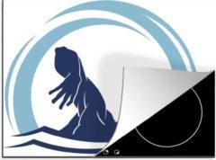 KitchenYeah Luxe inductie beschermer Zwemmen illustratie - 70x52 cm - Een illustratie van het silhouet van een zwemmend persoon - afdekplaat voor kookplaat - 3mm dik inductie bescherming - inductiebeschermer