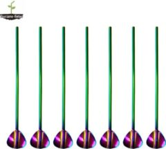 Duurzame-Rietjes RVS Lepel Rietjes Regenboog 6 Stuks Lepelrietjes - Lange Lepels 21,5 CM - Lepel/rietjes - Roestvrijstalen Lepel Rietjes - Thee Lepel - Dessert lepel - Latte Macchiato - Longdrink - Cocktail Lepel