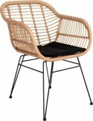 Naturelkleurige Norrut Trish fauteuil met kussen, rotan natuur.
