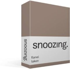 Moment By Moment Snoozing flanel laken Taupe 2-persoons (200x260 cm) (195 taupe)