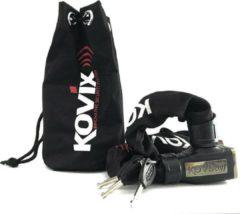 Zwarte Kovix KCL8-120 Fiets Motor Kettingslot met Alarm 120db 8mm x 120cm