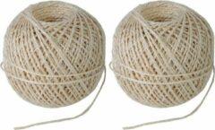 Creme witte 2x Naturel touw 55 meter op rol - 2 mm - Sisalvezels 200 grams - Klus/tuin/hobby touw/draad