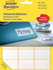 Avery Zweckform 3325 mini etiketten ft 38 x 24 mm (b x h), 522 etiketten, wit